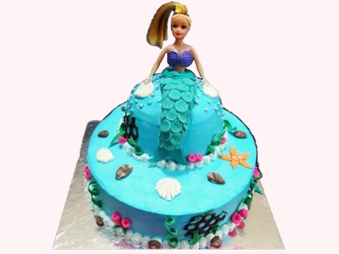 Eggless Pineapple Mermaid Cake