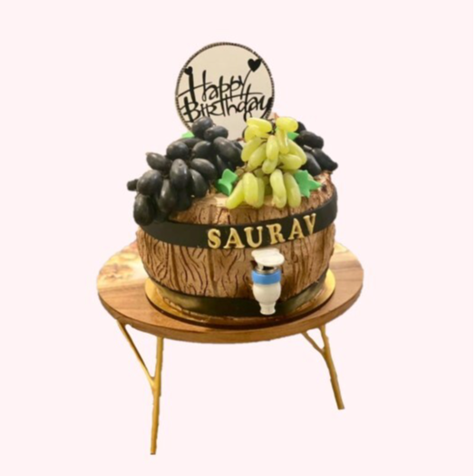 Wine barrel cake with tap