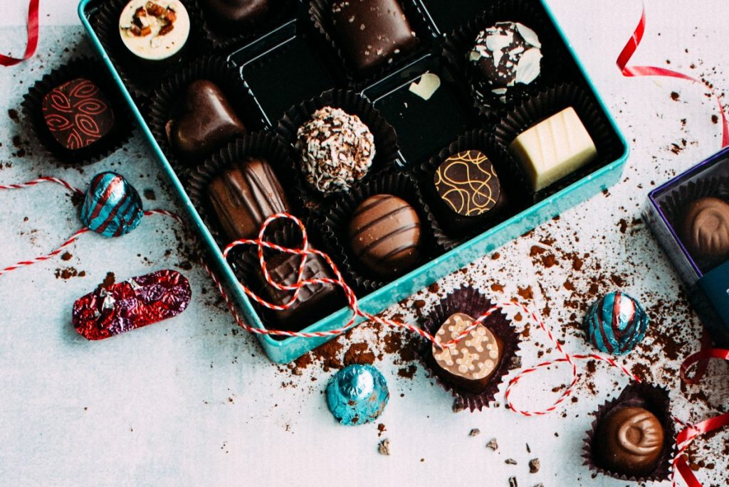 Chocolates in variety of shapes, sizes and flavors